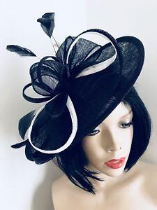 Image is loading Navy-Ivory-Fascinator-Wedding-Saucer-Hat-Formal-Ladies- 6f8197385ee