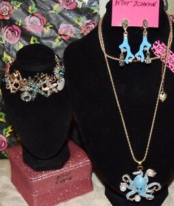 3PC-BETSEY-JOHNSON-BLUE-OCTOPUS-W-CRYSTALS-NECKLACE-CORAL-EARRINGS-amp-BRACELET