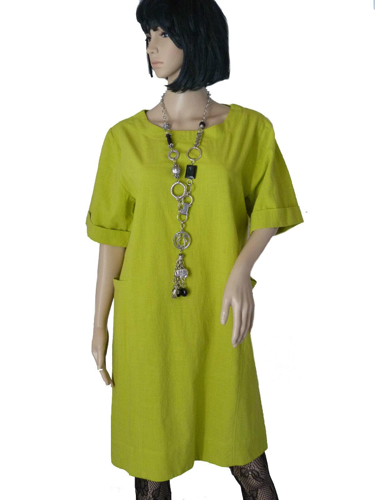 Gr.36 38 Kleid Sommerkleid Baumwollkleid Etuikleid figurbetont Hellgreen