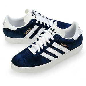 Image is loading Adidas-Originals-Gazelle-034581-Navy-Blue-Leather-Men-