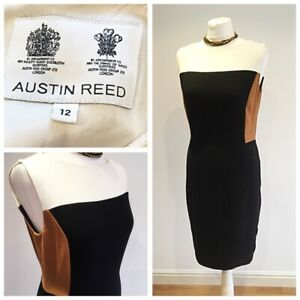 Austin Reed Black Tan Cream Pencil Dress Size 12 Office Business Work Wool Blend Ebay