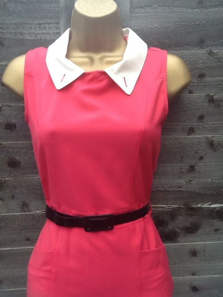 OASIS 50'S PINK VINTAGE RETRO PENCIL WIGGLE BELTED DRESS SIZE 8