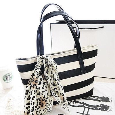 Fashion Women Canvas Striped Shoulder Bag with Scarf Beach Shopping Tote Handbag