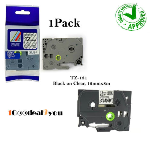 1 PK TZ-131 TZe-131 Compatible for Brother Black on Clear P-Touch Label Tape