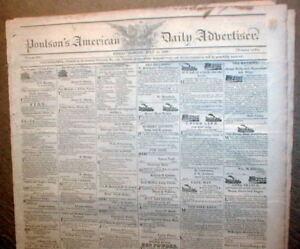 Orignl-1823-Philadelphia-newspaper-Poulsons-PENNSYLVANIA-w-illustr-STEAMBOAT-ADS