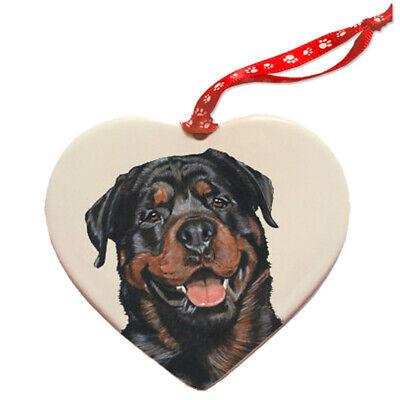 Rottweiler Porcelain Pet Gift Heart Ornament Ebay