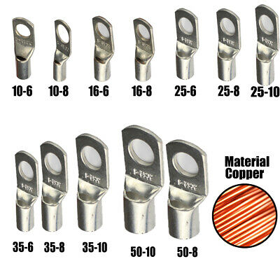 10 Pcs Copper Cable Lugs 16mm²x8mm Stud Hole For Battery Wire Auto Marine RV  φ