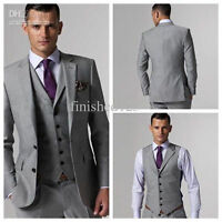 Mens Gray Wedding Suits Long Tuxedos Groom Bridal Formal Tailcoats Business Suit