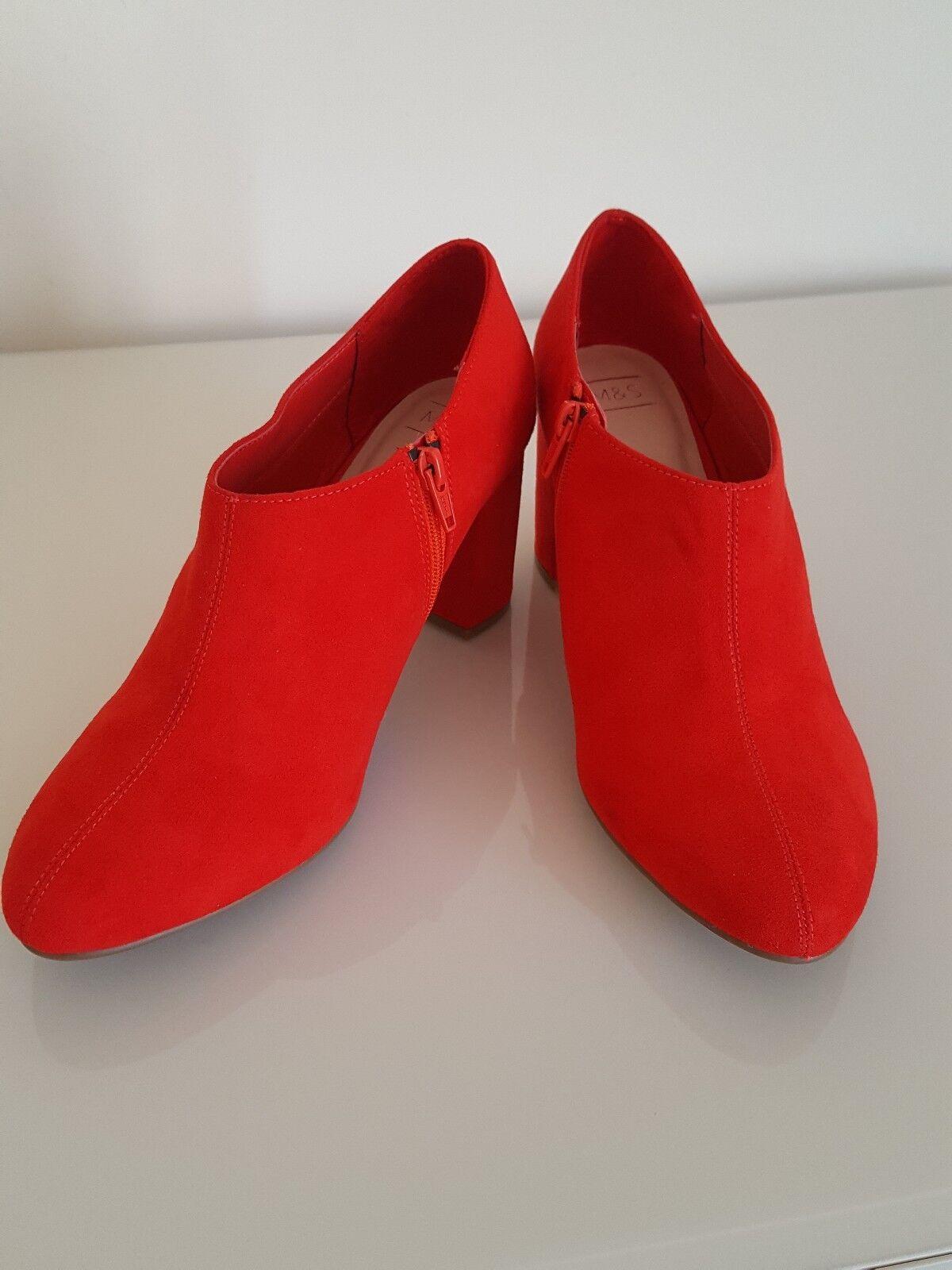 M & S THE EVERYWEAR SHOE BOOT Block Heel Side Zip shoes Boots