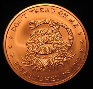 "5 oz Copper Round - .999 copper ""Don't Tread on Me / Price of Freedom"" (Cu-103)"