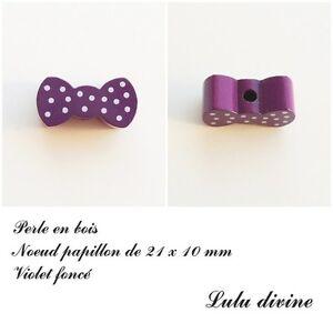 Perle plate Fée Violet foncé Perle en bois de 20 mm