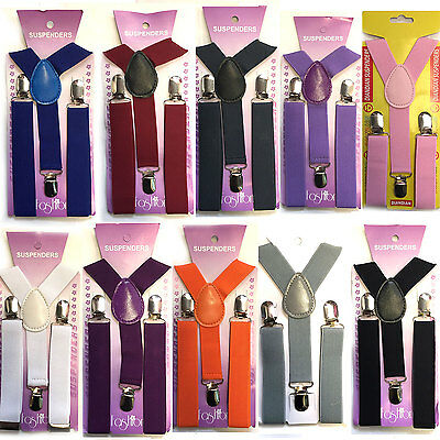 """Bambini/bambini/ragazzi/ragazze Plain Regolabile Pantaloni """"y"""" Bretelle Bretelle-/boys/girls Plain Adjustable Trouser """"y"""" Braces Suspenders It-it Mostra Il Titolo Originale Il Prezzo Rimane Stabile"""