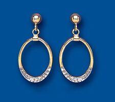 Talla Diamante Pendientes amarillo y blanco Oro Gotas Oro Dos Colores pendientes