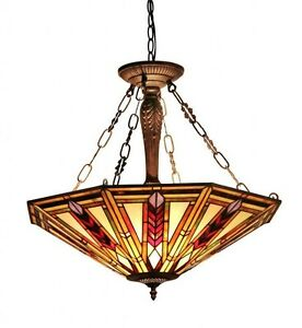 dining room light fixture tiffany style stained glass ceiling chandelier mission. Black Bedroom Furniture Sets. Home Design Ideas