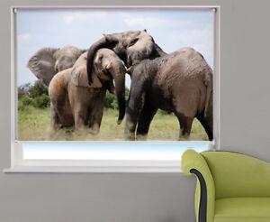 Digital-Print-Photo-Roller-Blind-Elephants-in-Africa-Animal-Blackout-Blind