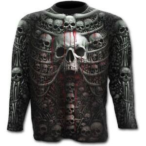 zwart Halloween lange SkullBones met mouwen skelet T shirt Death Direct Spiral Ribs wX80nPNOkZ