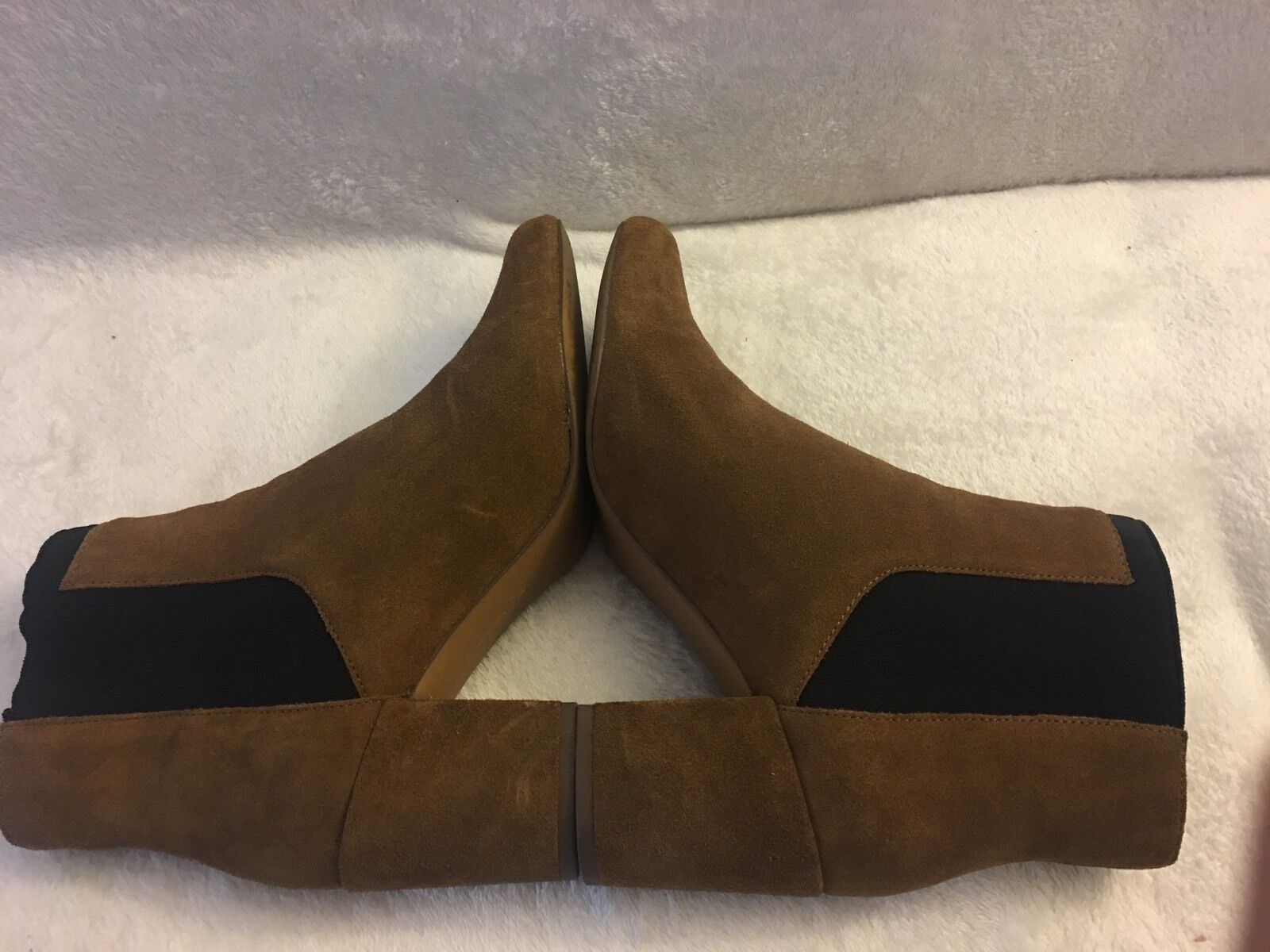 Zara Woman Beige Leather Leather Leather Ankle Boots Med Heel Sz 39 (8-8.5). Worn Only Once e8a626