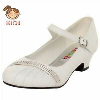 Rhinestone White Shoes Flower Girl Dress Party Shoes Size 8 To 4