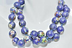 Vintage-Chinese-Cloisonne-Bead-Necklace-Floral-Enamel
