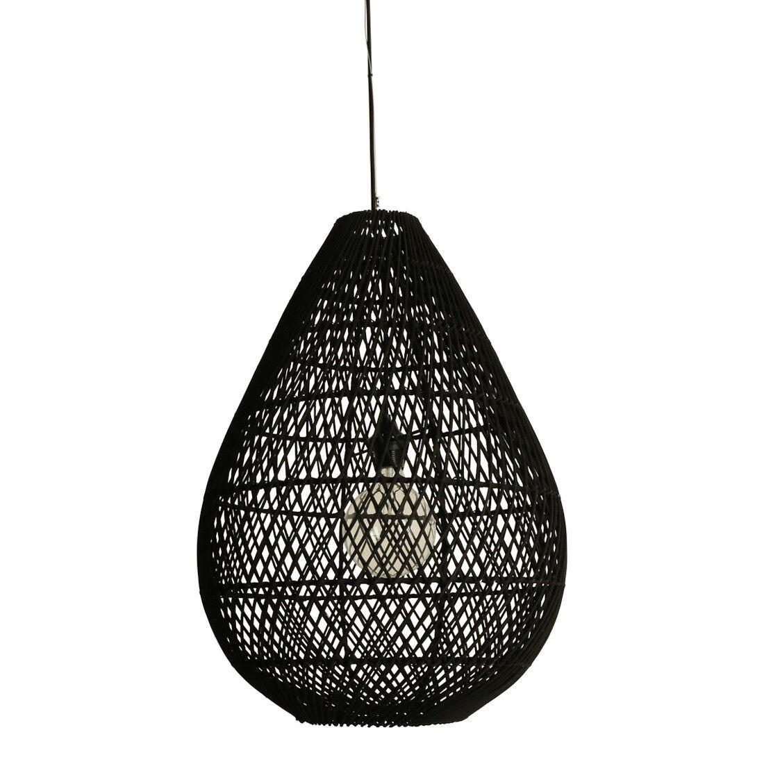 best-seller Lampada da soffitto luce pendente lampadario Drop RATTAN RATTAN RATTAN nera Ø 45 cm H 65 cm  per il tuo stile di gioco ai prezzi più bassi