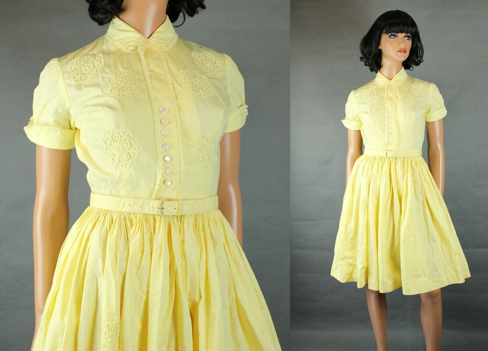 50s Party Gown Sz XS Vintage Butter Yellow Cotton Lace Flowers Shirt Dress