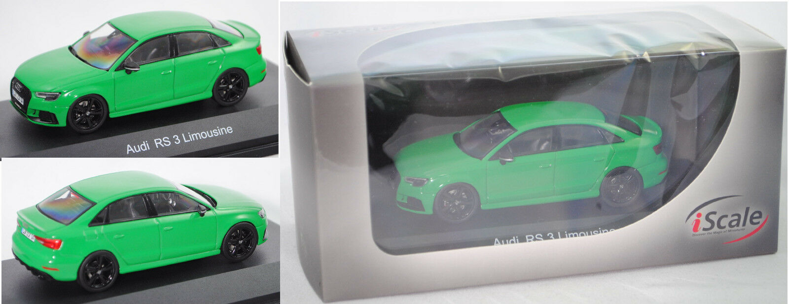IScale 43000043 Audi RS3 Limousine, vipergreen, PVC-Box