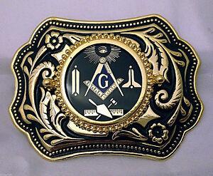Masonic-Symbols-Belt-Buckle-Western-Style-Black-and-Gold