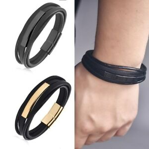 Men-039-s-Stainless-Steel-Black-Braided-Leather-Bracelet-Cuff-Bangle-Wristband