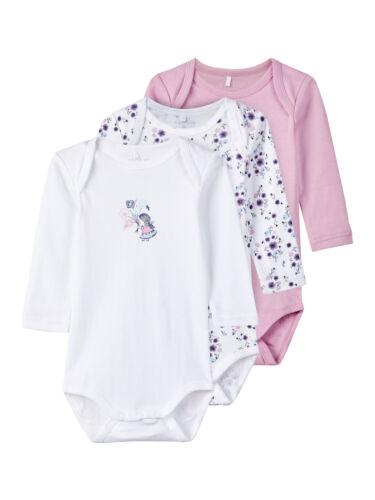 /%Sale/% Neu NAME IT Baby-Mädchen Body Frühling Strampler 3er Pack NP 14,99€