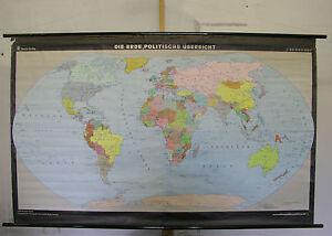 Details zu Schulwandkarte schöne alte Weltkarte Erde 180x112 vintage world  map 1980 DDR GDR