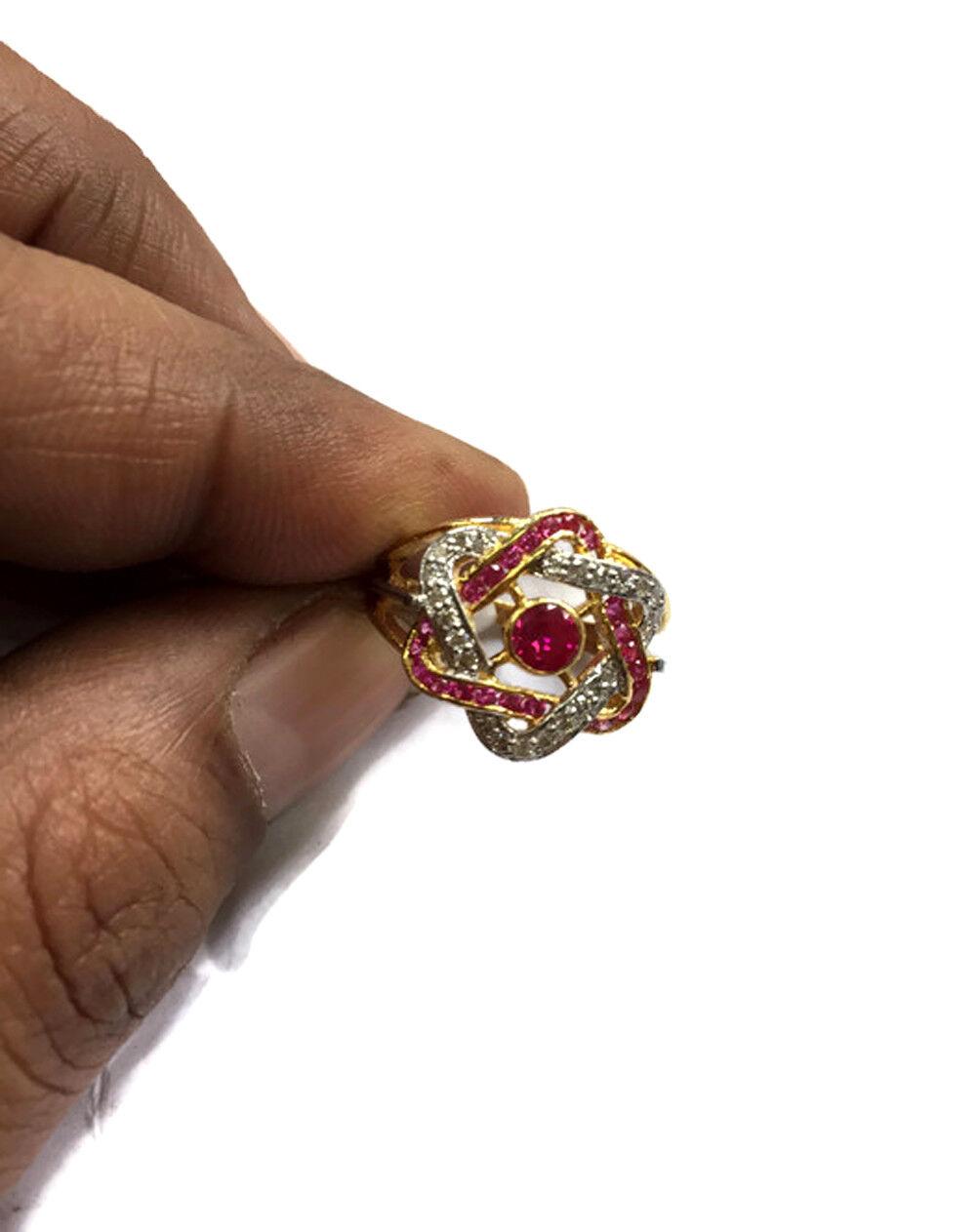0.31ct Diamond Ruby 18k Yellow gold Wedding Ring