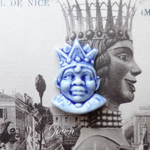 Antiguo Art Deco Miniatura Muñeca Pequeña 1  Rey Máscara encanto Alemán Porcelana Biscuit