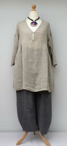 A beige line bust Tunic Long To Plain Up Gypsy Lagenlook 50
