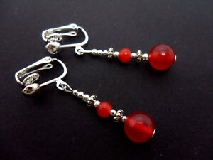 A-PAIR-TIBETAN-SILVER-RED-JADE-BEAD-DANGLY-CLIP-ON-EARRINGS-NEW
