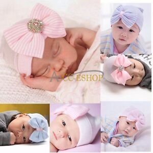Baby Girls Infant Colorful Striped Soft Bow Cap Hat Hospital Newborn Beanie J