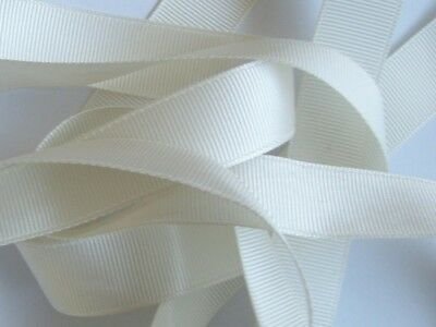 Total 2 Reels Grosgrain Ribbon Ivory White 40 Metres 25mm