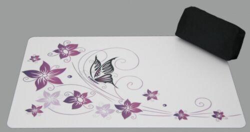 Schreibtischunterlage Set Schmetterling auf Blume weiß 40x60 mit Stiftemäppchen