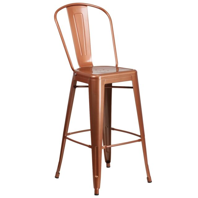 Marvelous Tolix Style Tabouret High Back Metal Industrial Restaurant Bar Stool Copper Gmtry Best Dining Table And Chair Ideas Images Gmtryco