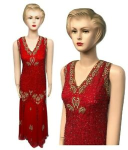 Details about New Ladies Red Sequin Beaded Vintage Evening Long Dress Plus  Size 24 26 28 30