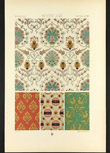 Medieval Art Lithograph Print 1871 by Racinet ornamental wall paper designs gold
