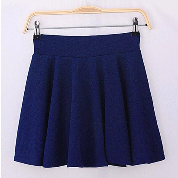 Women Stretch Comfy High Waist Mini Skirt Plain Skater Flared Pleated Dress