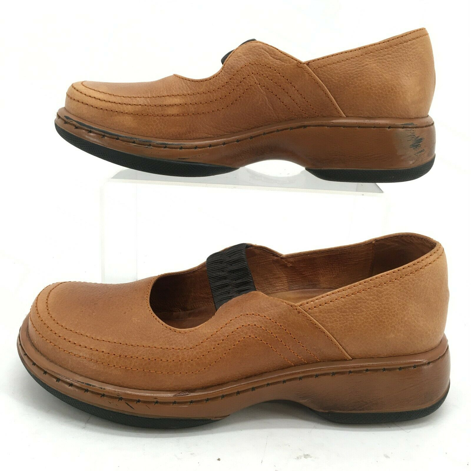Dansko Mary Jane Clogs Womens 37 Tan Leather Slip On Comfort Shoes Round Toe