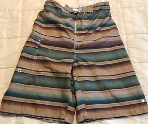 Lucky-Brand-Swim-Trunks-Striped-Brown-Green-Maroon-Board-Shorts-Boy-039-s-L-14-16