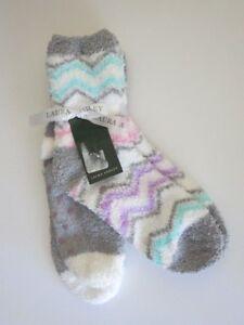 8d11fcb89 Laura Ashley 2 Pr Women s Warm Fuzzy Grippy Non Slip Slipper Socks ...