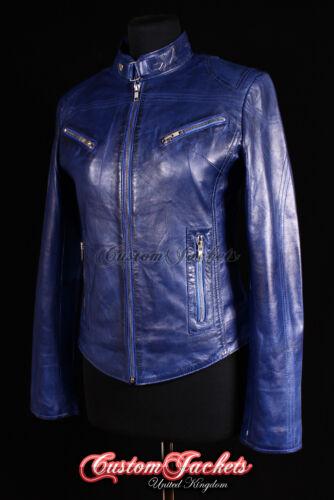 Biker Ladies Rush Jakke Cool Washed Real Monteret Læder Blue Piger Motorcykel rXq4rp