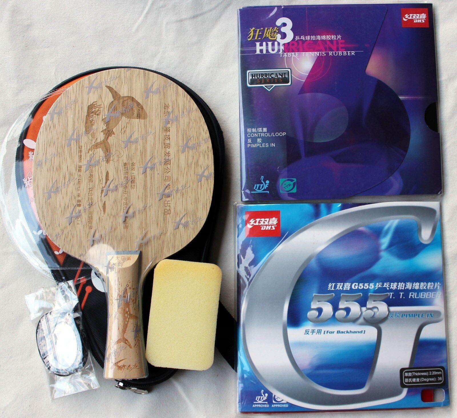 Shark 686 + Hurrican3   G555  Ti+Carbon+Ceramic Offensive Bat Case 3Star Balls,