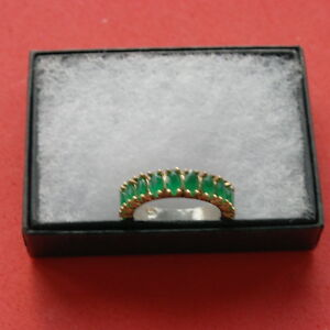Superb-925-Band-Silver-Ring-With-Turkish-Emerald-2-8-Gr-Size-N-In-Gift-Box