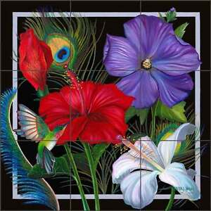 Tile-Mural-Backsplash-Ceramic-Jacey-Hibiscus-Tropical-Floral-Art-CPA-NJ14055
