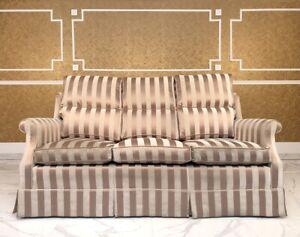 Stripe Satin Gold Grey Scroll Arm Sofa