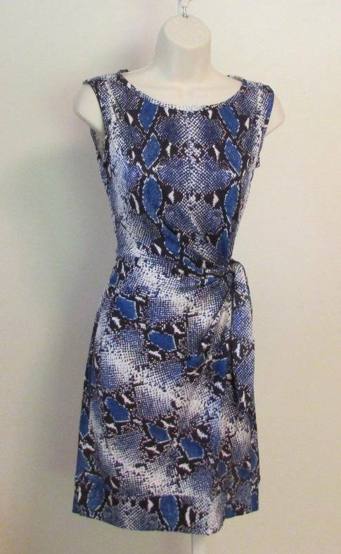 Diane von Furstenberg New Della Python Pop Blau Iris dress tie 10 medium snake